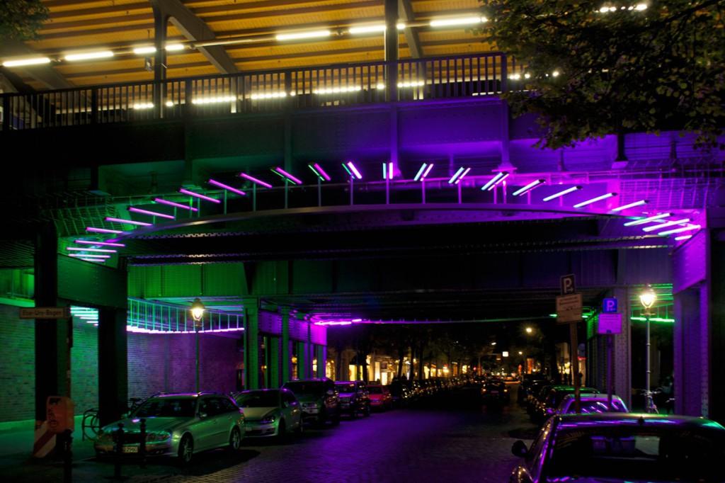 Der erste Preis in der Kategorie Lichtkunst ging an das Projekt Bleibtreubrücke in Berlin Foto: Gordon Wehowsky